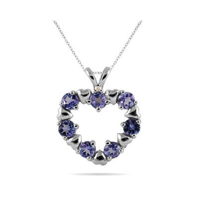 Diamond and Tanzanite Heart Pendant in 10kt White Gold