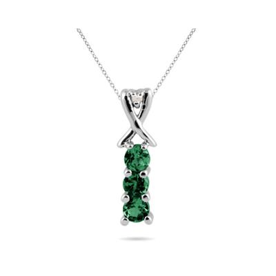 Emerald and Diamond Pendant in 10kt White Gold