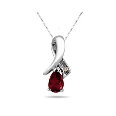 Ruby and Diamond Pendant in 10kt White Gold