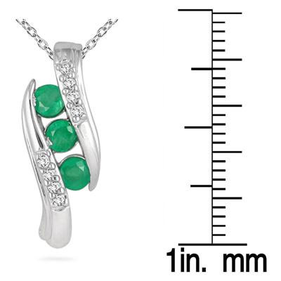 Channel Set Emerald and Diamond Pendant in 10kt White Gold