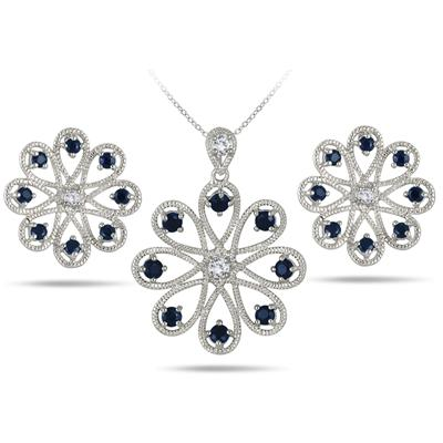 3.30 Carat Sapphire and White Topaz Pendant and Earring Set in .925 Sterling Silver