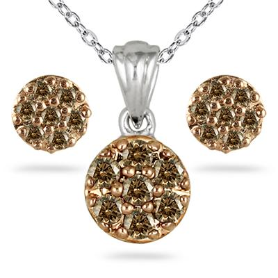1/2 Carat Genuine Champagne Diamond Cluster Set in .925 Sterling Silver
