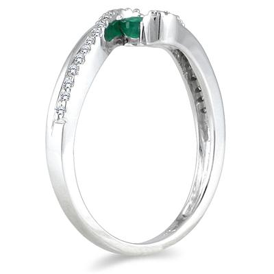 10K White Gold 0.25 Carat TW Emerald and Diamond Ring