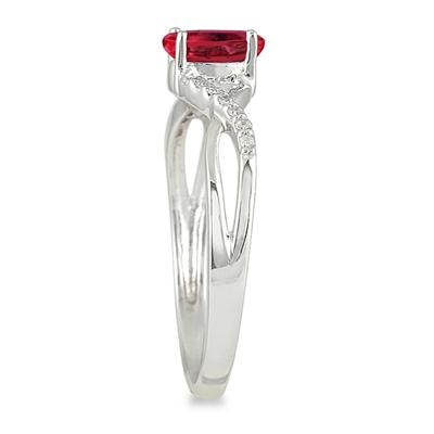 Ruby and Diamond Twist Ring in 10K White Gold