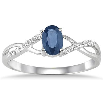Sapphire and Diamond Twist Ring in 10K White Gold