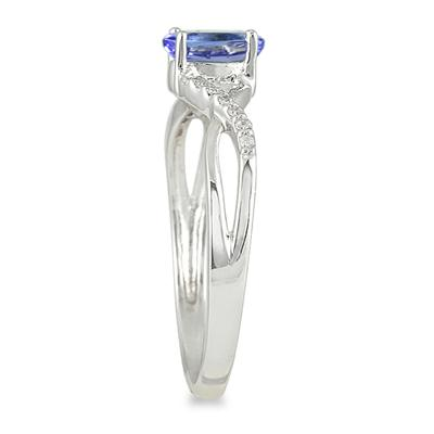 Tanzanite and Diamond Twist Ring in 10K White Gold