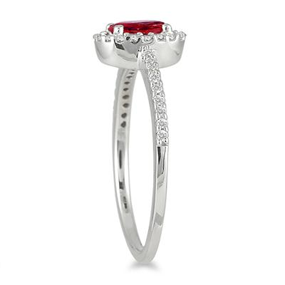 Ruby and Diamond Halo Ring in 10K White Gold