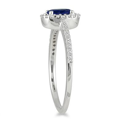 Sapphire and Diamond Halo Ring in 10K White Gold
