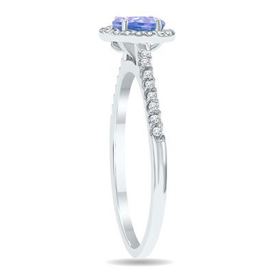Tanzanite and Diamond Halo Ring in 10K White Gold