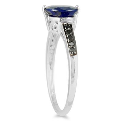 2 Carat Sapphire and Black Diamond Ring in 10K White Gold