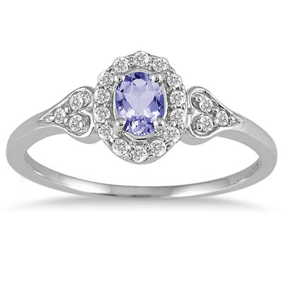 Tanzanite and Diamond Vintage Style Ring in 10K White Gold