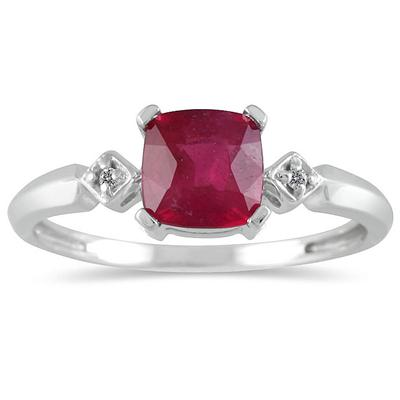 Cushion Cut Ruby and Diamond Ring in 10k White Gold