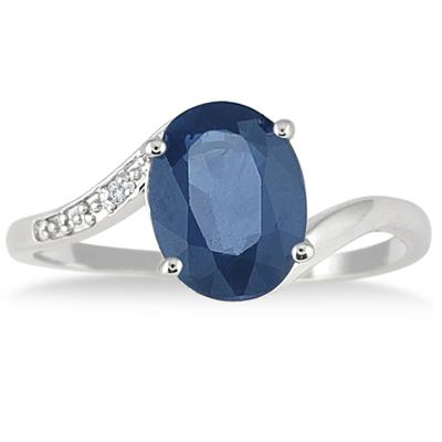 9x7mm Oval Sapphire and Diamond Ring in .925 Sterling Silver