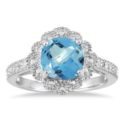8mm Cushion Cut Blue Topaz and Genuine Diamond Ring in .925 Sterling Silver