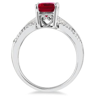 8x6MM Created Ruby and Diamond ring in .925 Sterling Silver