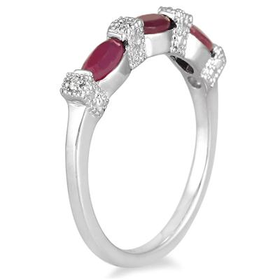 Ruby and Diamond Three Stone Band in .925 Sterling Silver