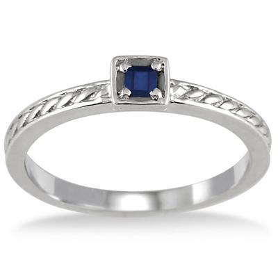 Princess Cut Sapphire Antique Engraved Ring in .925 Sterling Silver