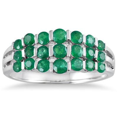 2.50 Carat All Natural Emerald Estate Brilliance Ring in Solid .925 Sterling Silver