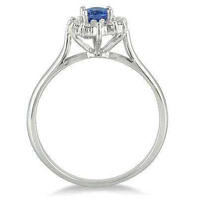 6x4MM Sapphire and Diamond Flower Ring in 10K White Gold