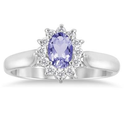 6x4MM Tanzanite and Diamond Flower Ring in 10K White Gold