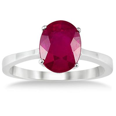 2.50 Carat All Natural Oval Ruby Ring in .925 Sterling Silver
