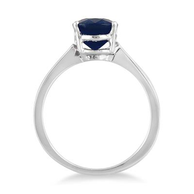 2.50 Carat All Natural Oval Sapphire Ring in .925 Sterling Silver