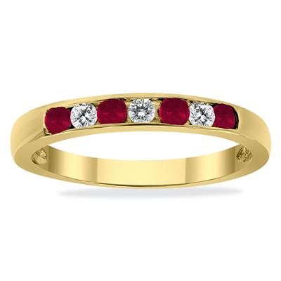 Ruby and Diamond Stackable Channel Set Ring in 14K Yellow Gold