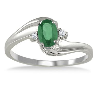 Emerald Gemstone and Diamond Wave Ring 14k White Gold