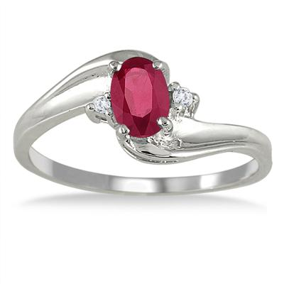 Ruby Gemstone and Diamond Wave Ring 14k White Gold