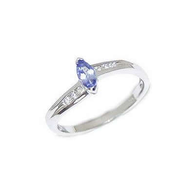 Marquise Tanzanite and Diamond Slender Wave Ring