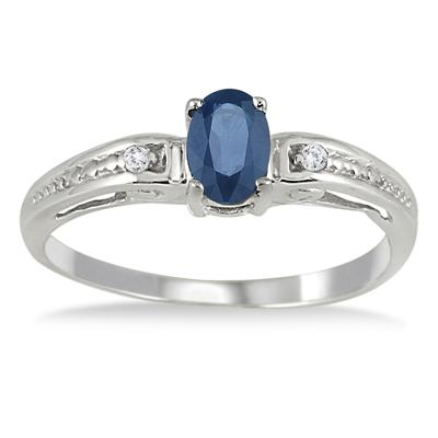 Sapphire and Diamond Deco Ring in 14k White Gold