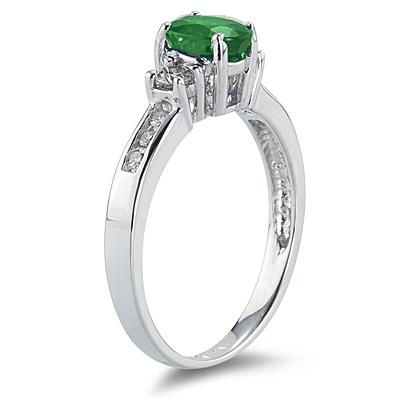 Emerald and Diamond Regal Channel Ring in 14K White Gold