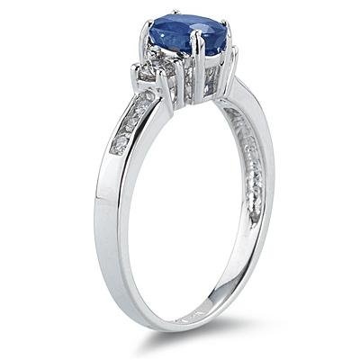 Sapphire and Diamond Regal Channel Ring 14k White Gold