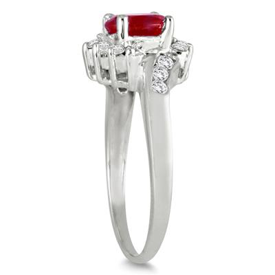 1 Carat Ruby and Diamond Flower Twist Ring in 14K White Gold
