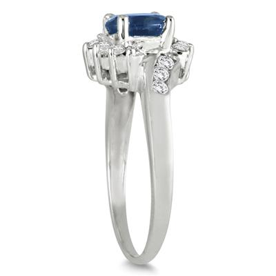 1 Carat Sapphire and Diamond Flower Twist Ring in 14K White Gold