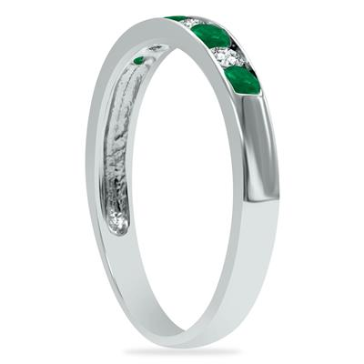 Emerald and Diamond Stackable Channel Set Ring in 14K White Gold
