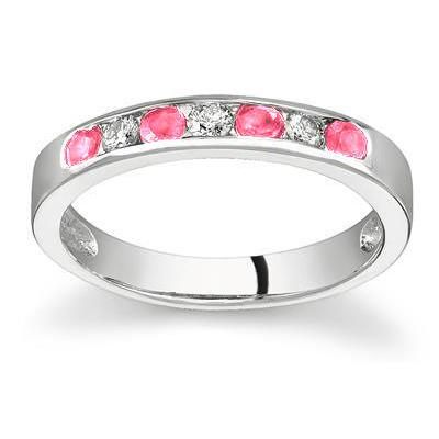Pink Sapphire and Diamond Stackable Channel Ring