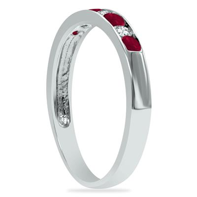 Ruby and Diamond Stackable Channel Set Ring in 14K White Gold