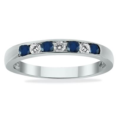 Sapphire and Diamond Stackable Channel Set Ring in 14K White Gold