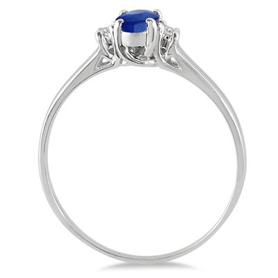 6x4MM All Natural Oval Sapphire and Diamond Three Stone Ring in 14K White Gold