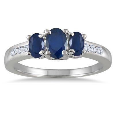 Sapphire and Diamond Channel Ring 14K White Gold