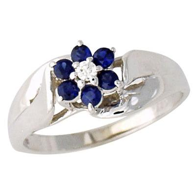Sapphire and Diamond Flower Petal Ring