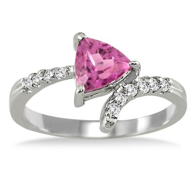 4/5 Carat Pink Tourmaline and Diamond Ring 14K White Gold