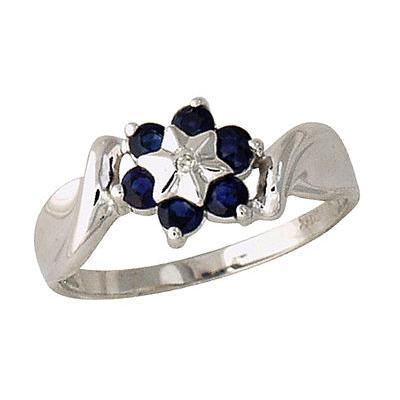 Sapphire Flower Ring 14k White gold