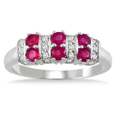 Ruby and Diamond Ring 14K White Gold