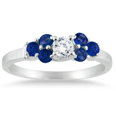 14kt White Gold Diamond and Sapphire Women