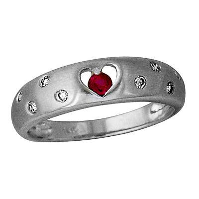 Ruby and Diamond Sparkle in 14kt White Gold