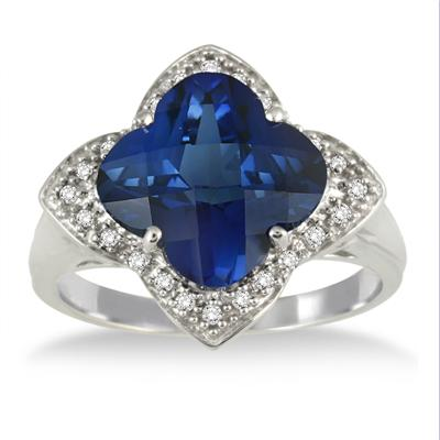 5 Carat Created Cushion Cut Sapphire and Genuine Diamond Ring in .925 Sterling Silver