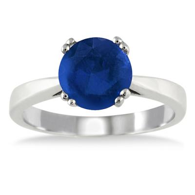 2.25 Carat All Natural Sapphire Solitaire Ring in .925 Sterling Silver