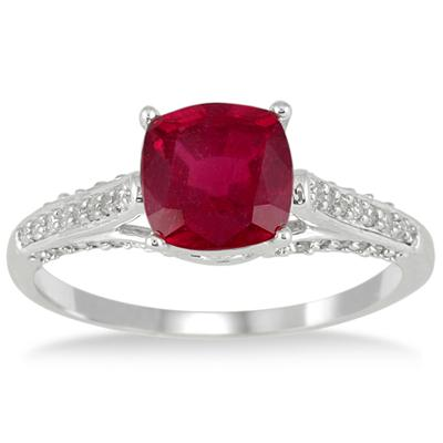 2.25 Carat Cushion Cut Ruby and Diamond Ring in 10K White Gold